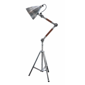 BRUSHED PEWTER STYLE & WOOD TRIPOD DESK LAMP WITH CONE SHADE