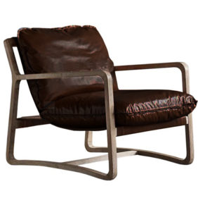 CAMERON LEATHER LOUNGE CHAIR - BROWN