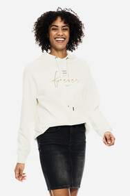 WHITE HOODIE WITH TEXT PRINT