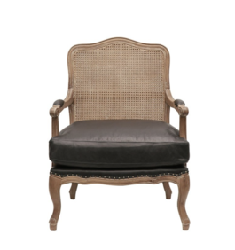 HECTOR LEATHER AND RATTAN ARMCHAIR