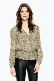 BEIGE BLOUSE WITH LEOPARD PRINT