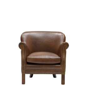 LUCA LEATHER ARMCHAIR - BROWN