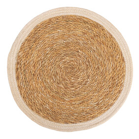 JUTE ROUND PLACEMAT WITH BORDER - WHITE